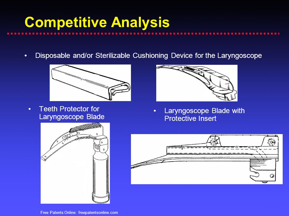 Competitive Analysis Disposable and/or Sterilizable Cushioning Device for the Laryngoscope. Teeth Protector for Laryngoscope Blade.