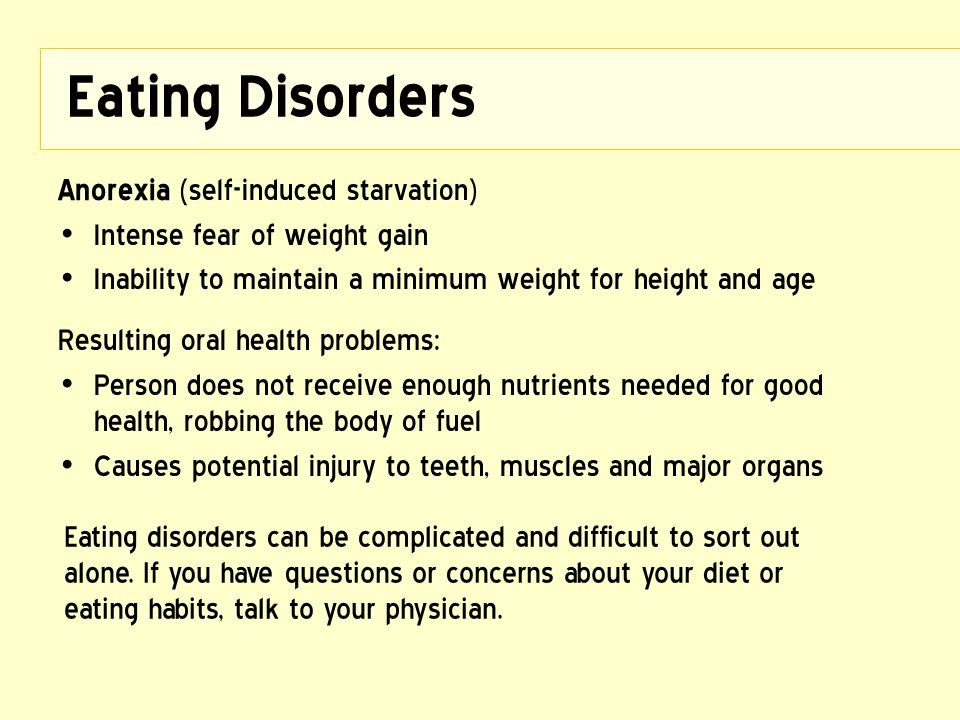 Eating Disorders Anorexia (self-induced starvation)