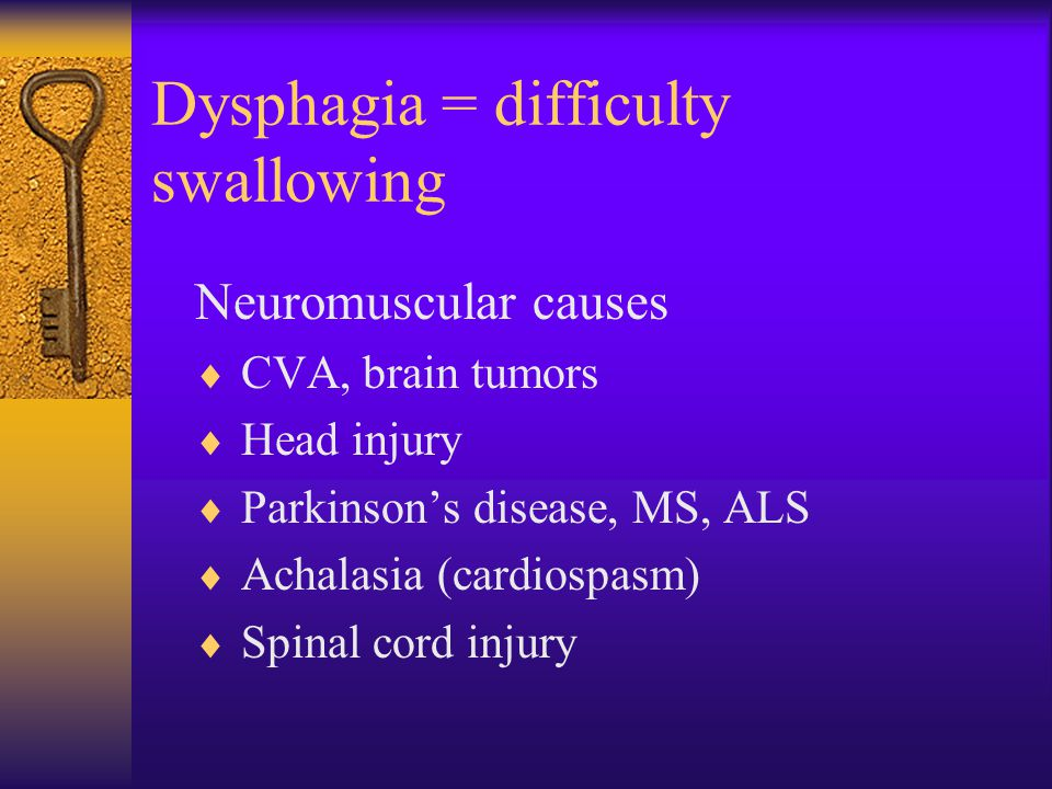 Dysphagia = difficulty swallowing