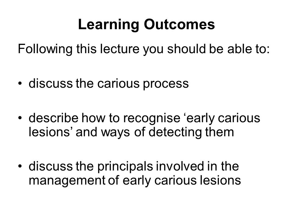 Learning Outcomes Following this lecture you should be able to: