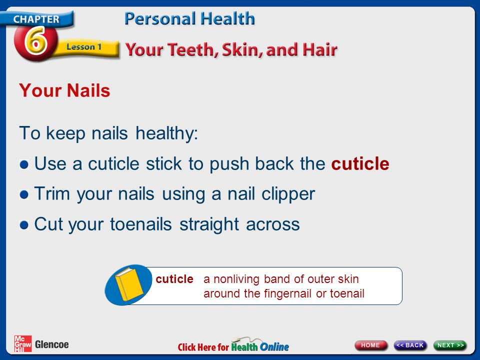 Use a cuticle stick to push back the cuticle