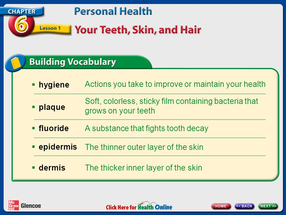 Actions you take to improve or maintain your health hygiene