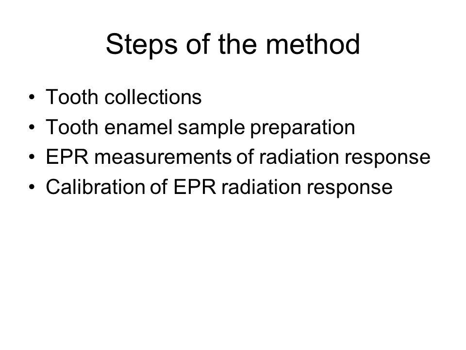 Steps of the method Tooth collections Tooth enamel sample preparation