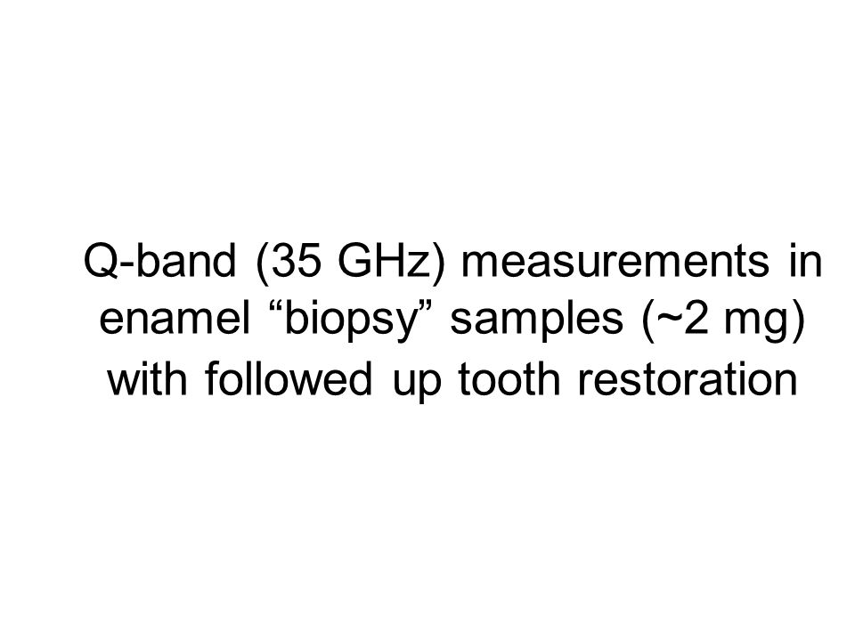 Q-band (35 GHz) measurements in enamel biopsy samples (~2 mg) with followed up tooth restoration