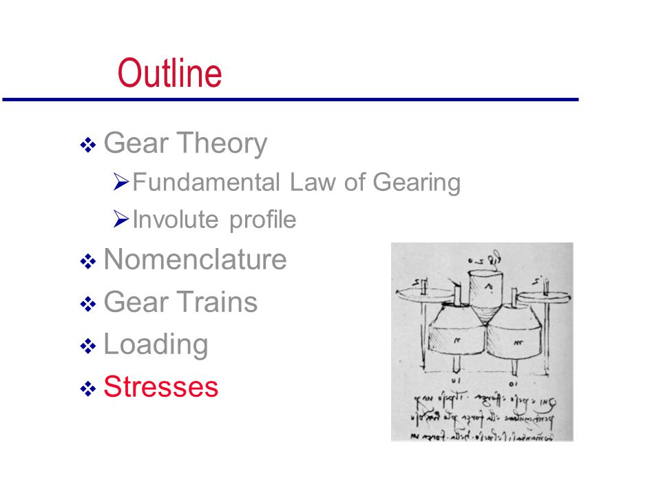 Outline Gear Theory Nomenclature Gear Trains Loading Stresses
