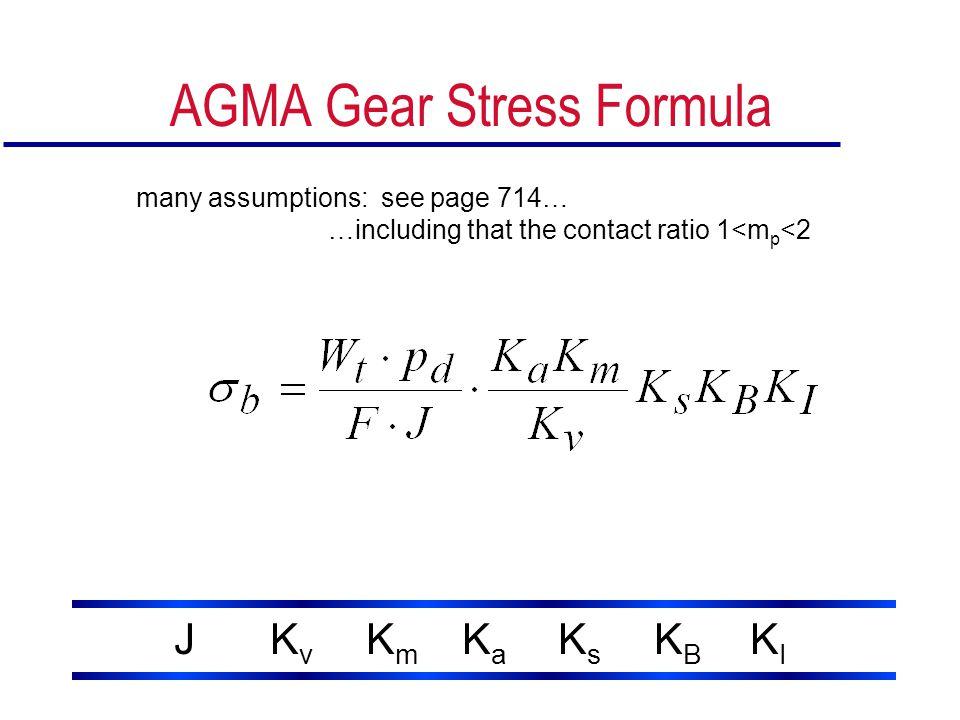 AGMA Gear Stress Formula