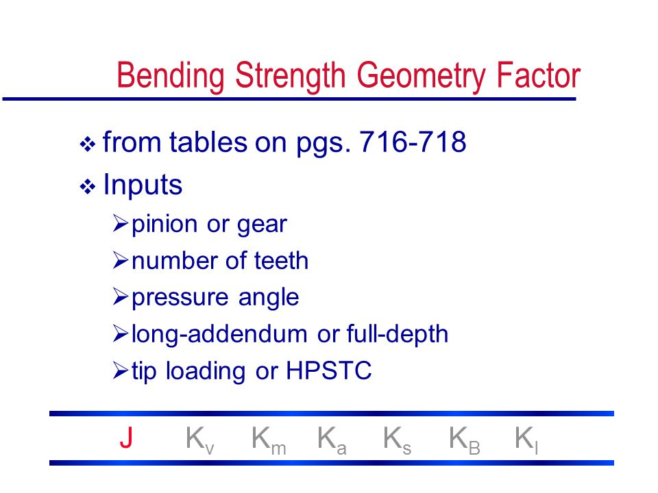 Bending Strength Geometry Factor