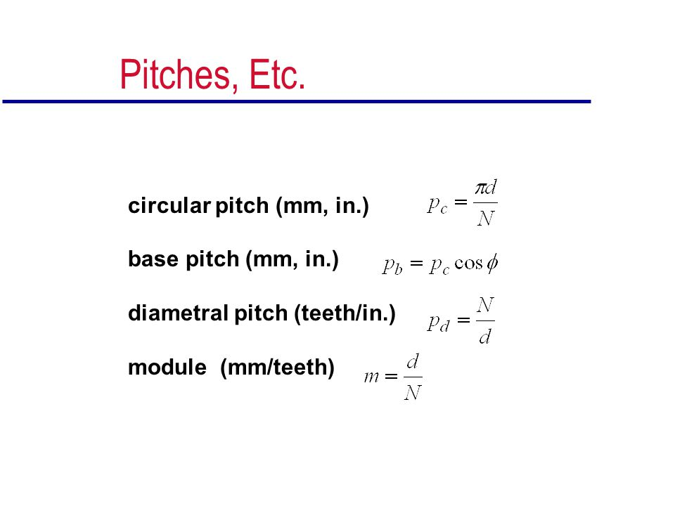 Pitches, Etc. circular pitch (mm, in.) base pitch (mm, in.)
