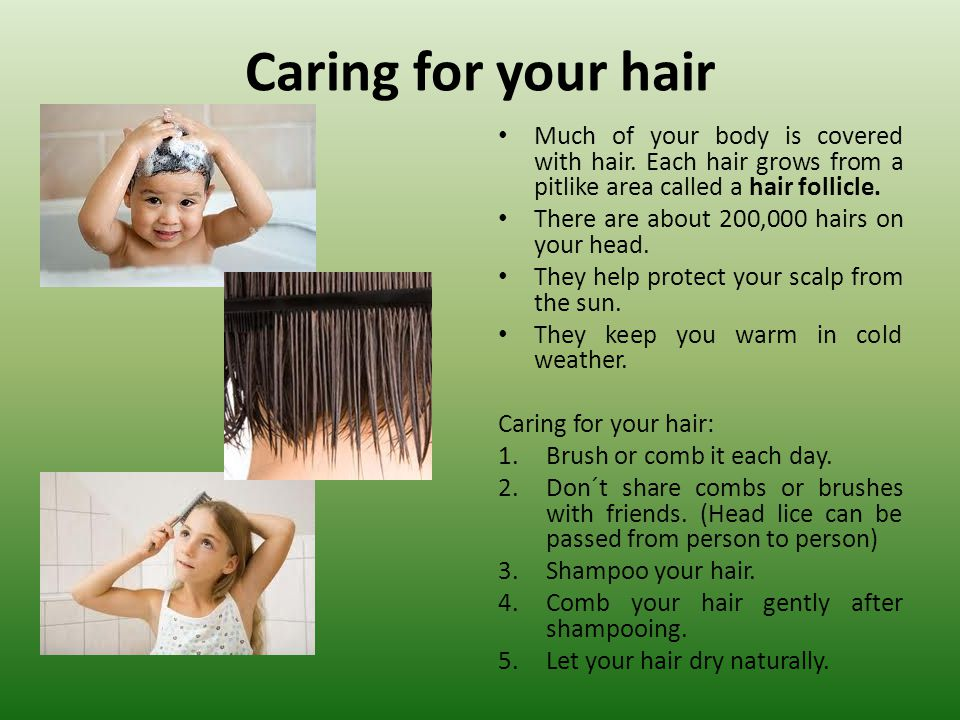 Caring for your hair Much of your body is covered with hair. Each hair grows from a pitlike area called a hair follicle.