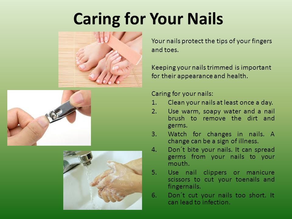 Caring for Your Nails Your nails protect the tips of your fingers
