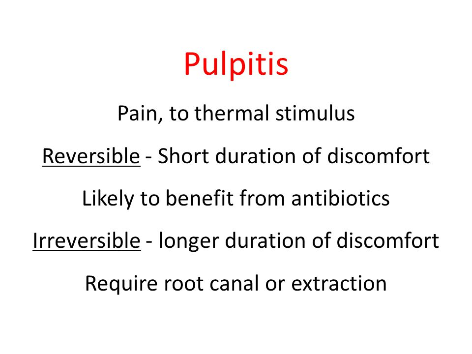 Pulpitis Pain, to thermal stimulus