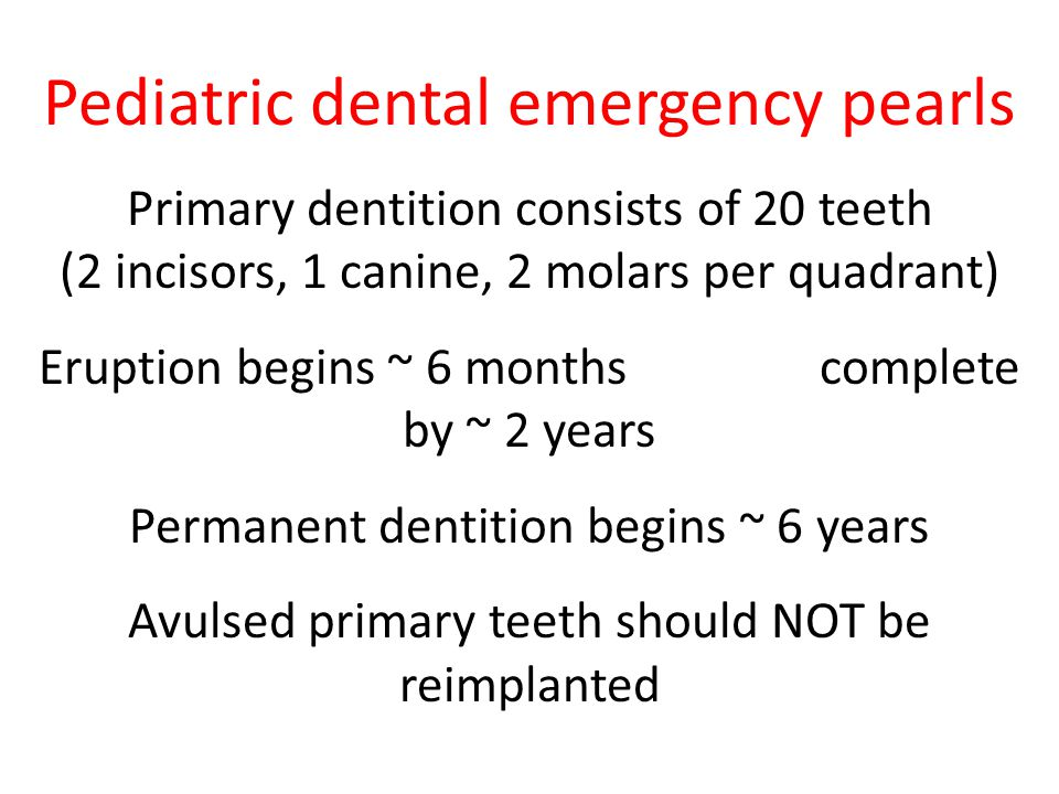 Pediatric dental emergency pearls