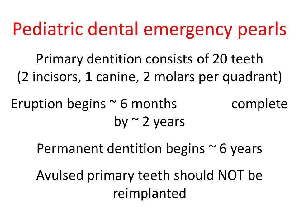 Pediatric dental emergency pearls