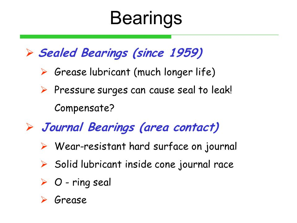 Bearings Sealed Bearings (since 1959) Journal Bearings (area contact)