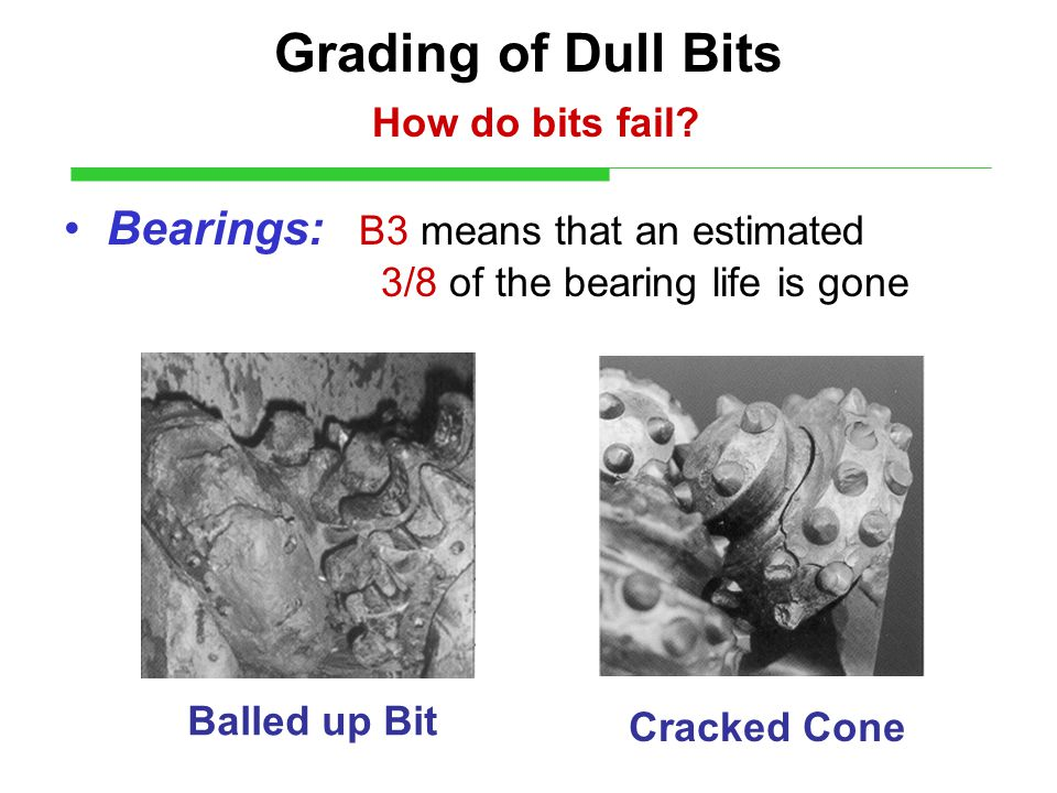 Grading of Dull Bits How do bits fail