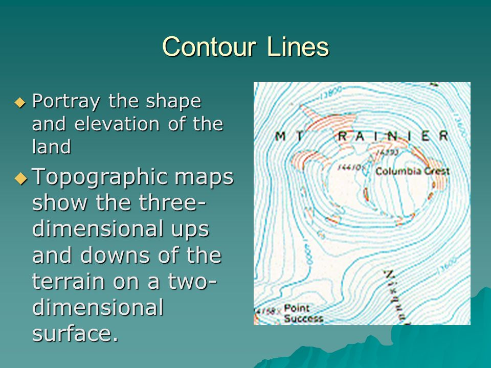 Contour Lines Portray the shape and elevation of the land.