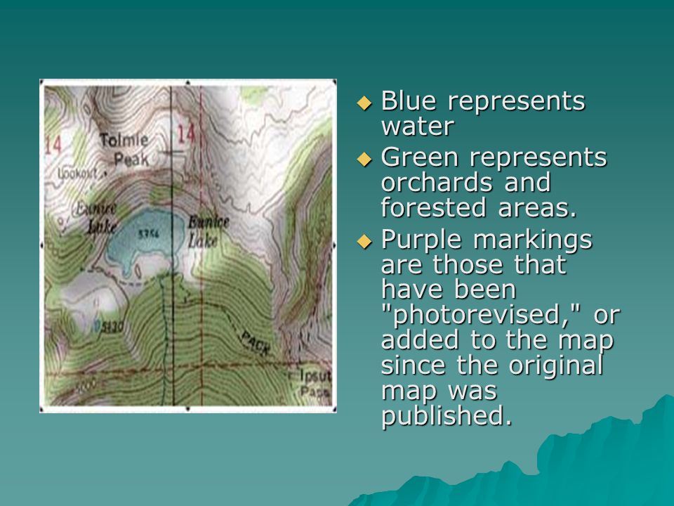 Blue represents water Green represents orchards and forested areas.
