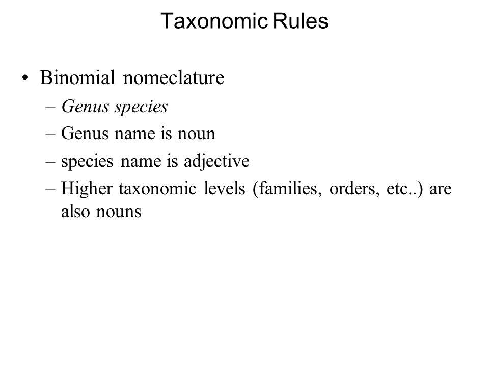 Taxonomic Rules Binomial nomeclature Genus species Genus name is noun