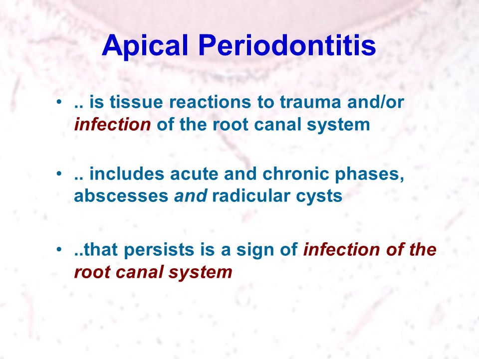 Apical Periodontitis .. is tissue reactions to trauma and/or infection of the root canal system.
