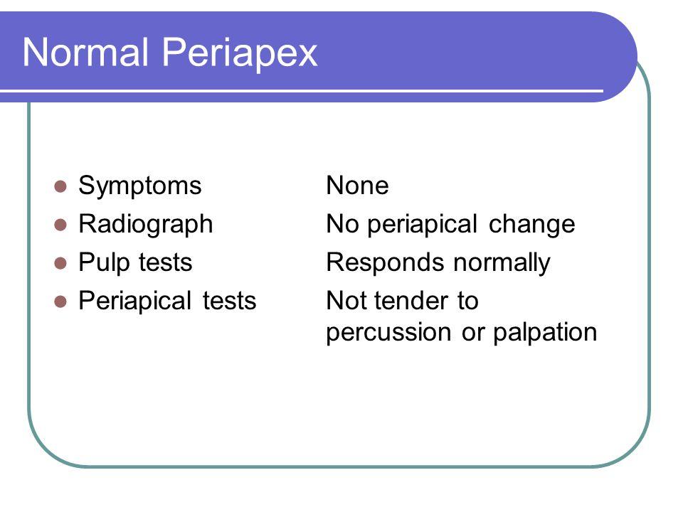 Normal Periapex Symptoms None Radiograph No periapical change
