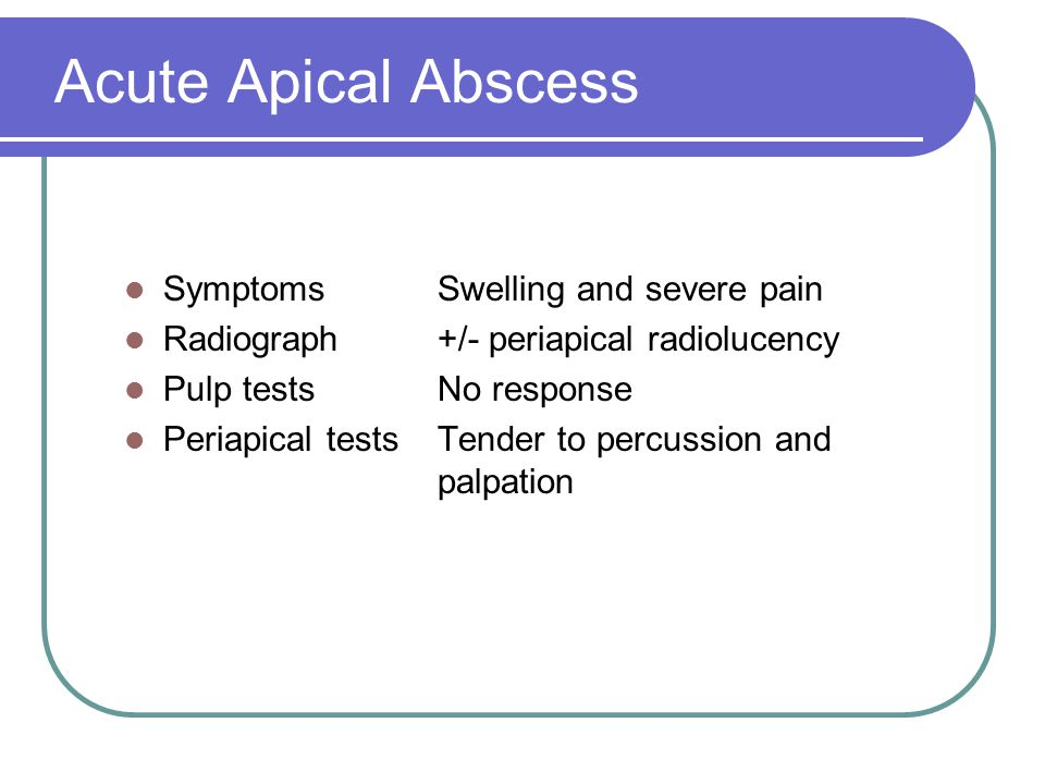 Acute Apical Abscess Symptoms Swelling and severe pain