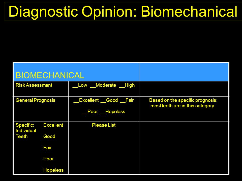 Diagnostic Opinion: Biomechanical