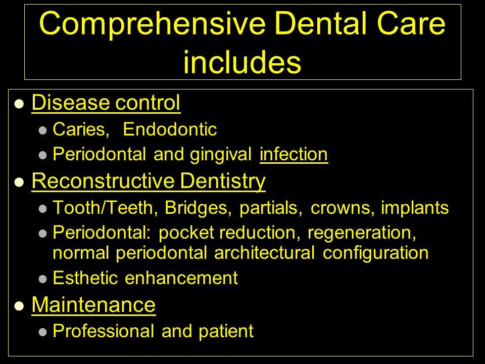 Comprehensive Dental Care includes