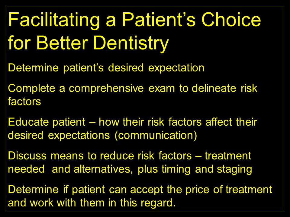Facilitating a Patient's Choice for Better Dentistry