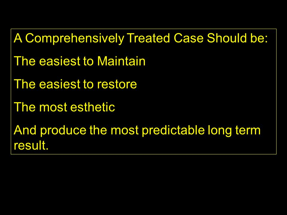 A Comprehensively Treated Case Should be: