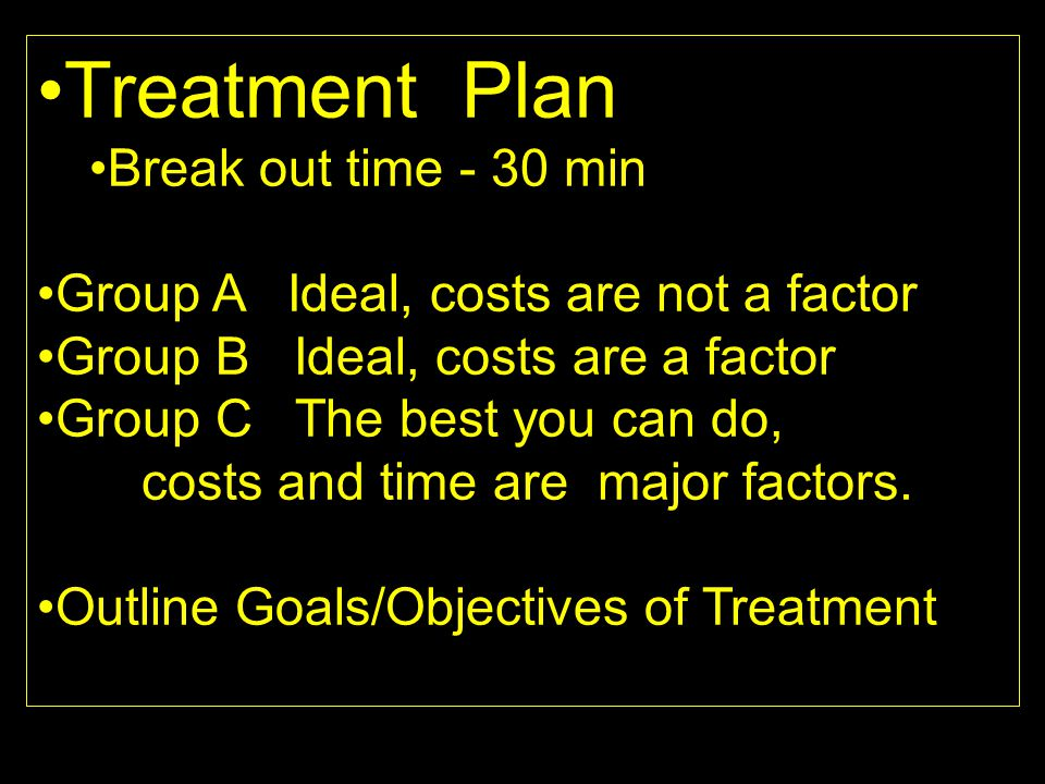 Treatment Plan Break out time - 30 min