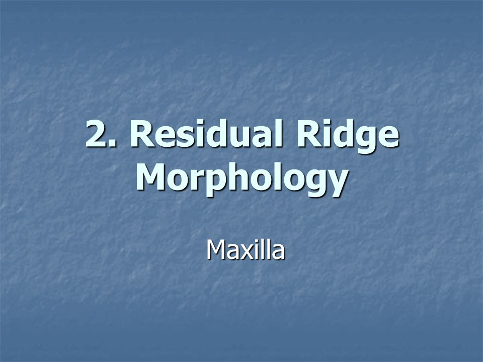 2. Residual Ridge Morphology