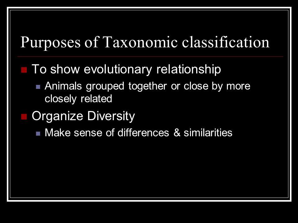 Purposes of Taxonomic classification