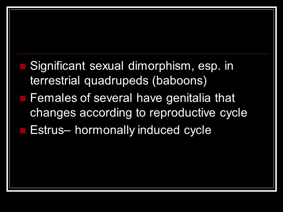 Significant sexual dimorphism, esp. in terrestrial quadrupeds (baboons)