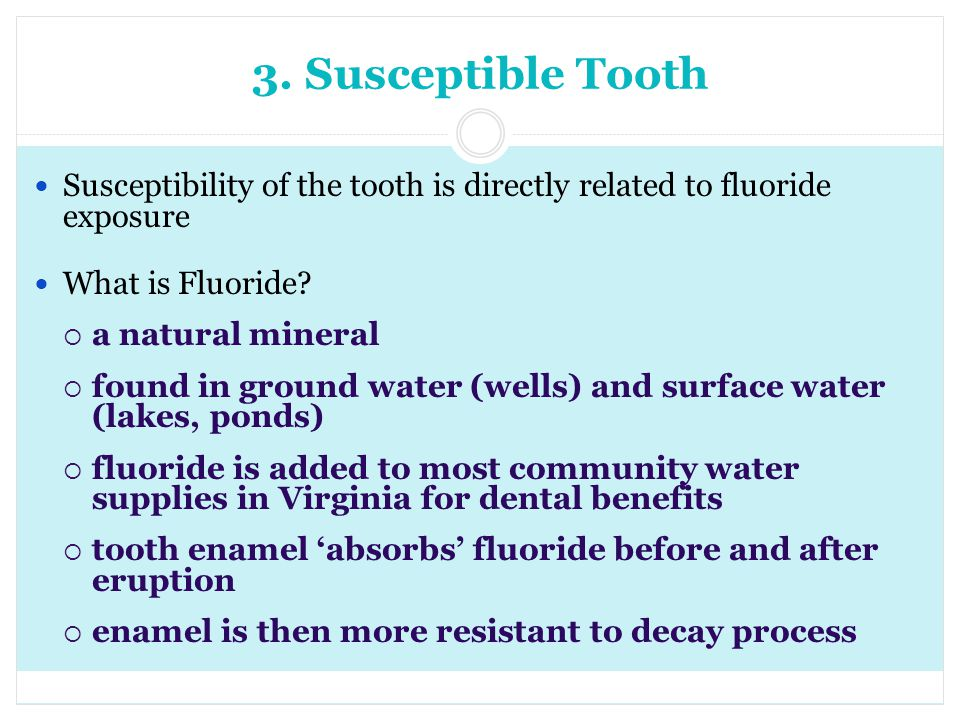 3. Susceptible Tooth Susceptibility of the tooth is directly related to fluoride exposure. What is Fluoride
