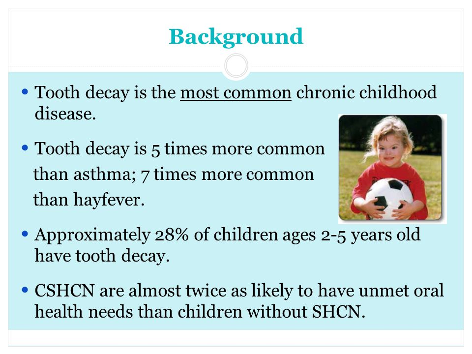 Background Tooth decay is the most common chronic childhood disease.