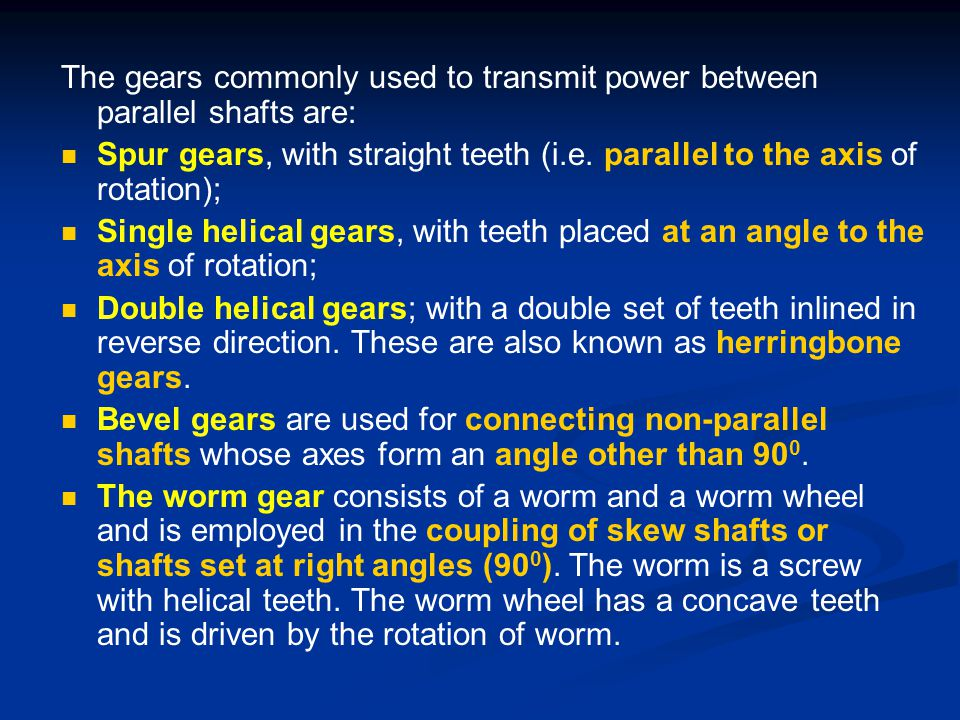 The gears commonly used to transmit power between parallel shafts are: