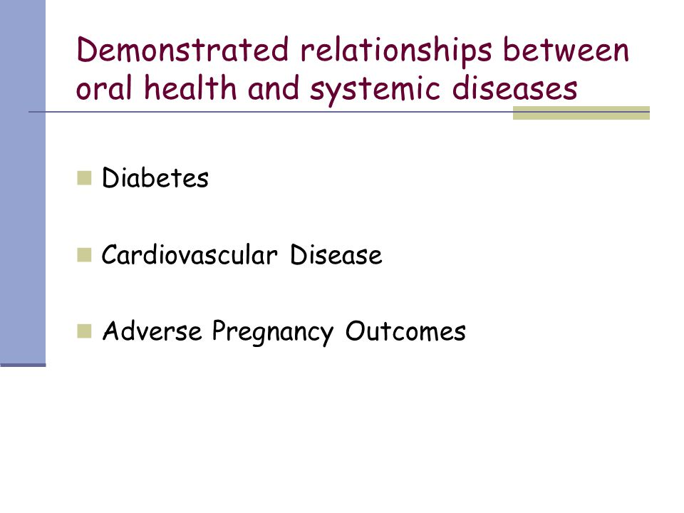Demonstrated relationships between oral health and systemic diseases