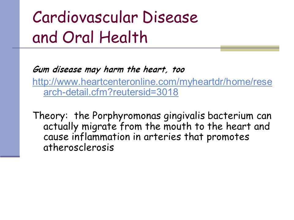 Cardiovascular Disease and Oral Health
