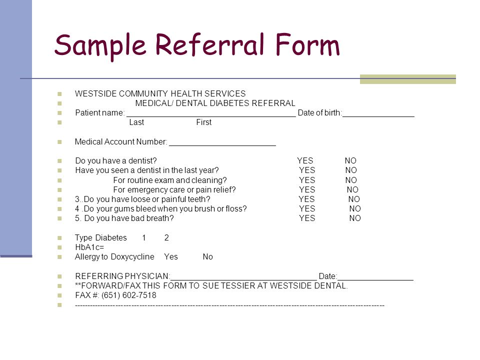 Sample Referral Form WESTSIDE COMMUNITY HEALTH SERVICES