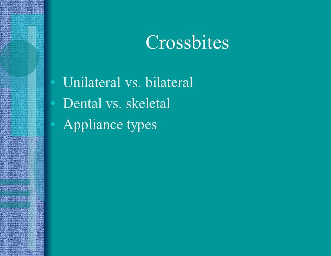 Crossbites Unilateral vs. bilateral Dental vs. skeletal