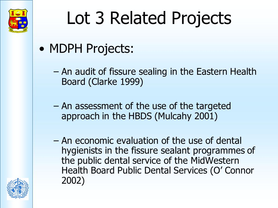Lot 3 Related Projects MDPH Projects: