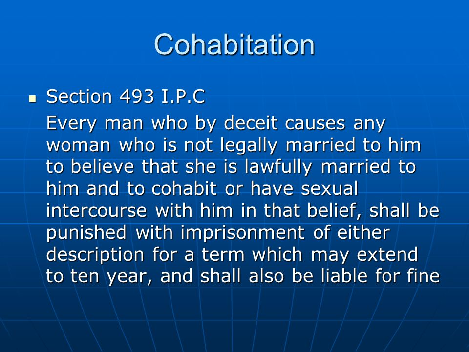 Cohabitation Section 493 I.P.C