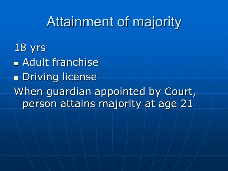 Attainment of majority