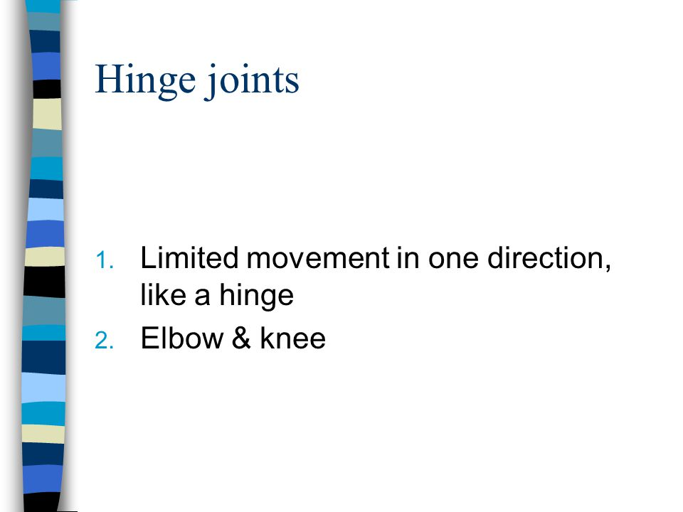 Hinge joints Limited movement in one direction, like a hinge