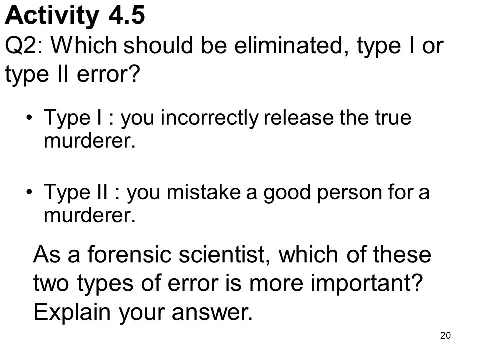 Activity 4.5 Q2: Which should be eliminated, type I or type II error