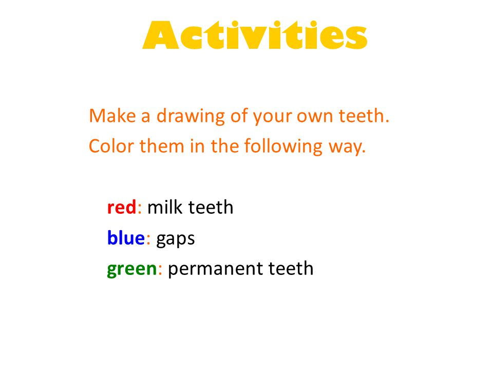 Activities Make a drawing of your own teeth.