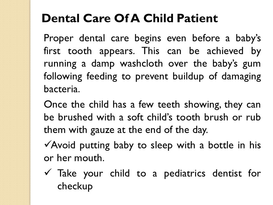 Dental Care Of A Child Patient