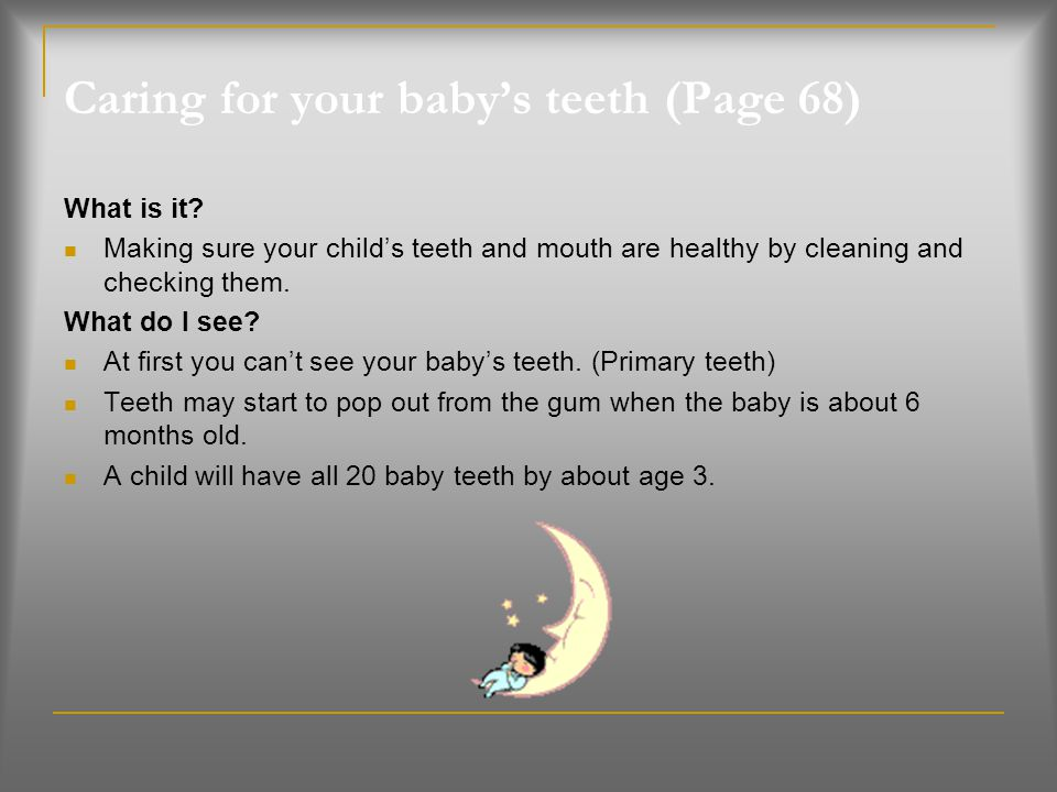 Caring for your baby's teeth (Page 68)