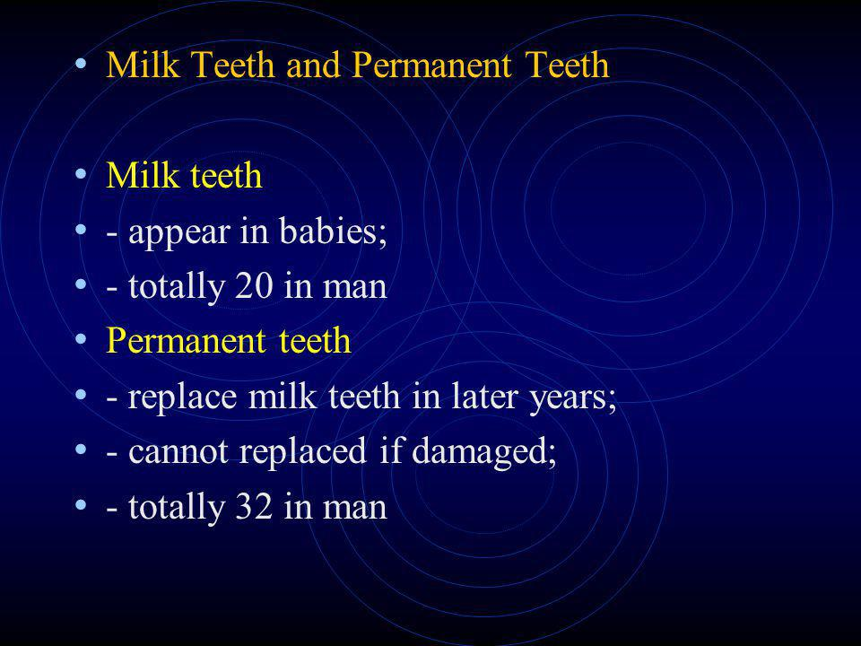 Milk Teeth and Permanent Teeth