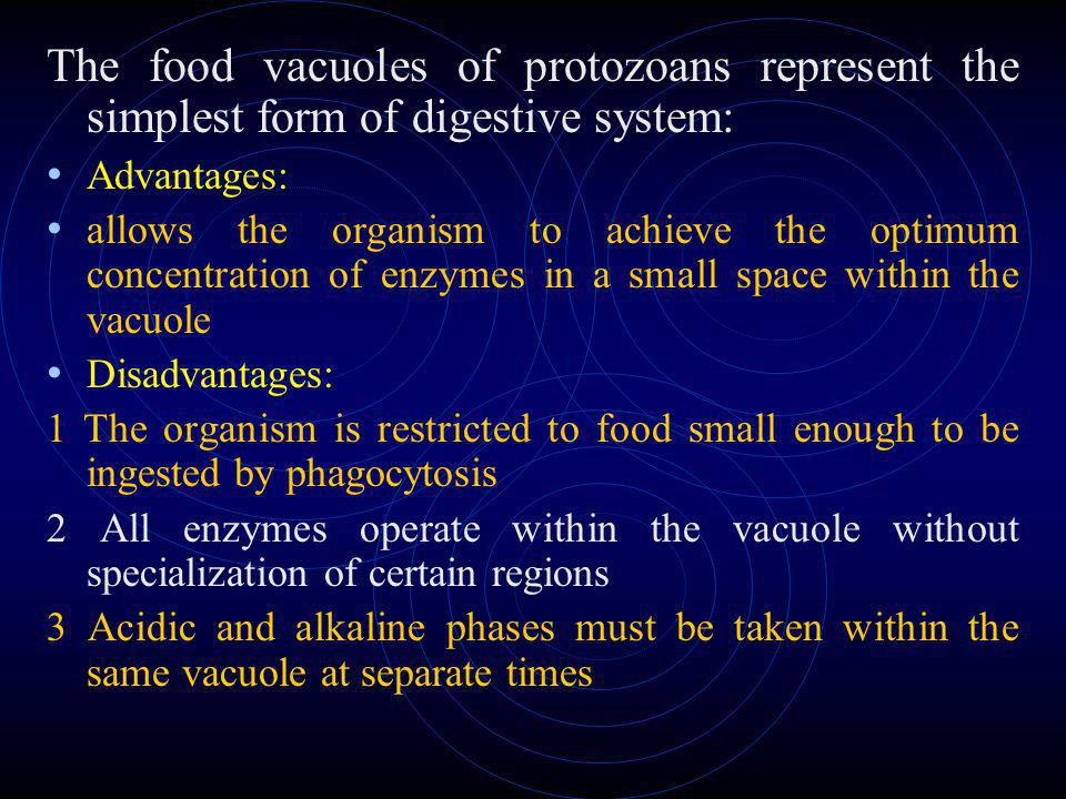 The food vacuoles of protozoans represent the simplest form of digestive system: